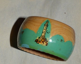 1930s wooden hand painted napkin ring holder-yacht/lighthouse