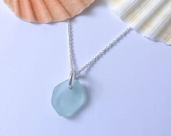Small pale turquoise blue sea glass necklace - can be personalised