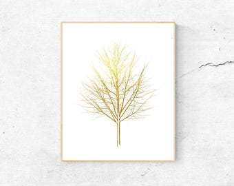 Gold Tree Printable Wall Art, Faux Gold Foil Print, Nature Decor, Download Woodland Print, Forest Print, Metallic Printable