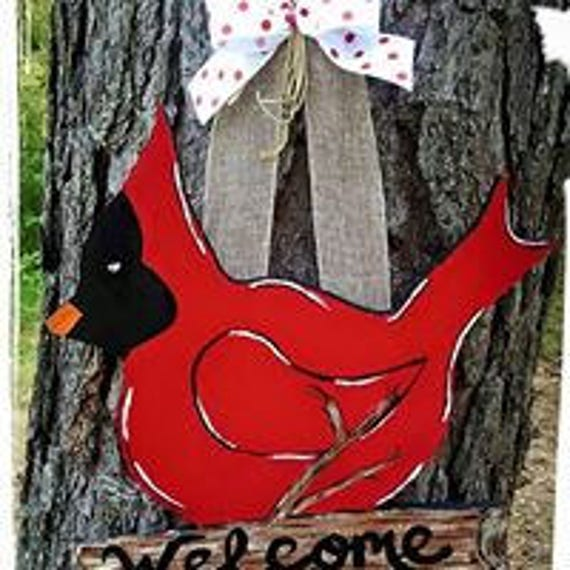 Cardinal door hanger welcome sign,red bird, home decor, wood, gift