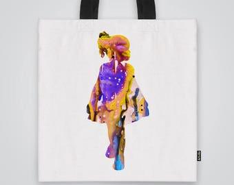 Girl Tote Bag Shoulder Bag Market Bag Art Print