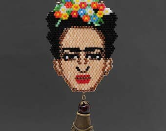 ethnic boho Frida Kahlo painter artist mexican colorful bead beaded art pendant necklace made to order