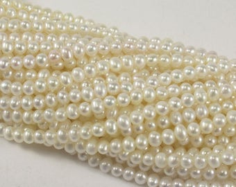 3.5 mm AAA White Semi Round/Potato Freshwater Pearl Natural Beads Bridal Pearl, Natural Pearls, Genuine Feshwater Pearl Beads (78-PW04)