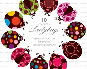 Colourful Ladybugs ~ c ~ clip art instant download