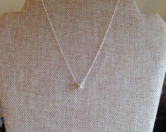 Hammered Silver Bead on Sterling Silver Chain Layering Necklace