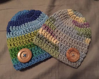 Crocheted Baby Beanie with Button