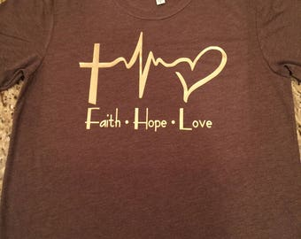 Faith, Hope, Love tri blend tee shirt