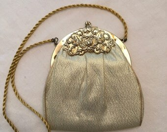 HL Gold lame evening bag with floral repousse frame