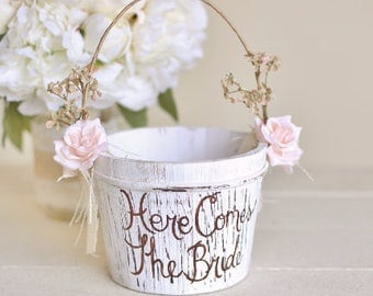 Here Comes The Bride Flower Girl Basket Rustic Shabby Chic Wedding (Item Number 140397)