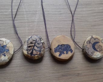 Rustic Wood Cookie Necklaces