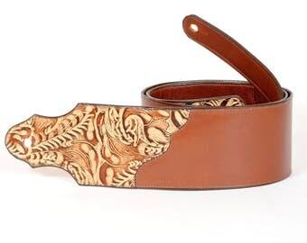 Handmade Embossed Leather Guitar Strap