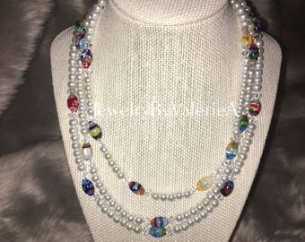 Triple Strand Pearl & Lampwork Necklace And Earring Set