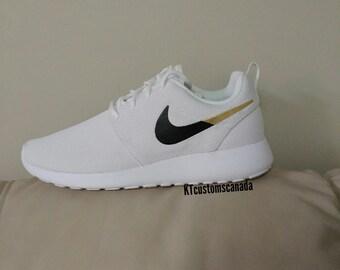 NEW custom Nike roshe white/black/gold