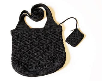 Crocheted bag. Crocheted black bag. Black bag.