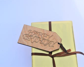Happy Birthday Wooden Tag Personalised Gift Present