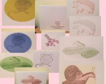 woodland wildlife animal pencil effect sketch postcards set of 5