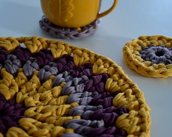 Crochet Placemat in Mustard and Aubergine with Two Coasters from T-shirt Yarn, Doily from T-shirt Yarn