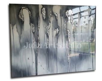 Canvas art, Silver painting, original painting,  glass look epoxy resin coating