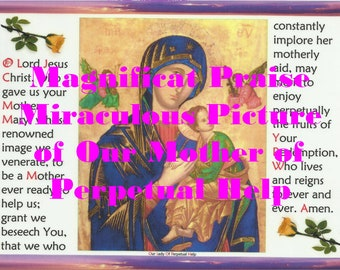 Poster of the Miraculous Picture of Our Mother of Perpetual Help with the Prayer to Jesus Christ to Download, Enlarge, Print and Frame.