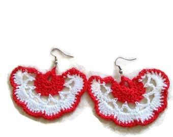 Crochet flower earrings,hook earrings