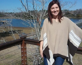 Upcycled sweater light brown poncho