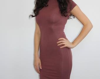 Bahati Basics Burgundy Midi Dress