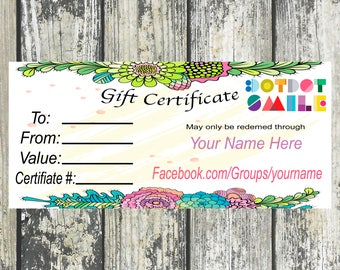 Gift Certificate, White with Flowers, Personalized, Digital Download, Printable DotDotSmile