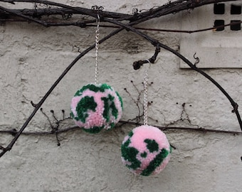 Peonies Pom Pom Earrings