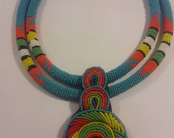 2 in one Beaded Maasai choker necklace