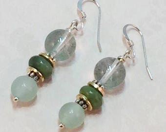 Quartz and jade sterling silver  earrings
