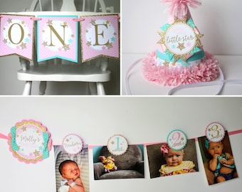 Twinkle Twinkle Little Star FIRST BIRTHDAY Package - High Chair Banner, Photo Banner, Party Hat