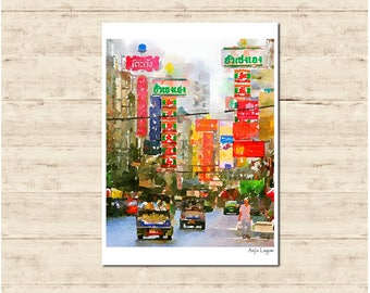 Bangkok Thailand Watercolour Painting Postcard Poster Art Print Q350