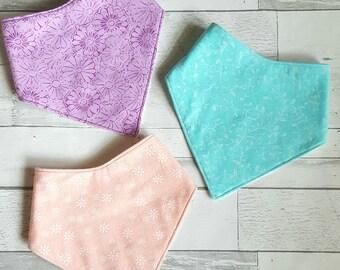 Baby girl drool bibs - Bandana Drool Bibs - girl bibs - pink bibs - turqouise bibs - Pink bibs - purple bibs - super absorbent bibs