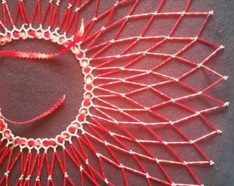 Red and Gold seed Bead Collar Necklace