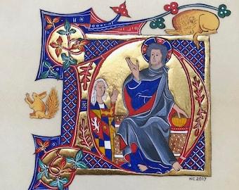 Drop cap overelaborate D representing Jesus, original illumination