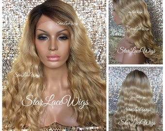 Lace Front Wig - Honey Blonde - Long Wavy - Dark Roots - Side Part - Heat Resistant Safe