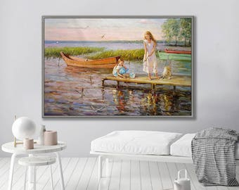 """Figurative Painting, People Painting, Girl with Dog by Lake, 24x36""""/60x90cm Oil Painting"""