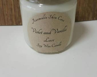 200g Violet and Vanilla Lace Soy Wax Candle.