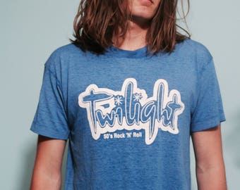1950s Twilight Rock N Roll Vintage blue thin t-shirt