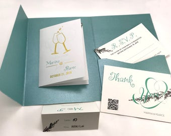 Real Foil Champagne Wedding Invitations Suite - Notebook with Pine Invitatipon Kits # 6