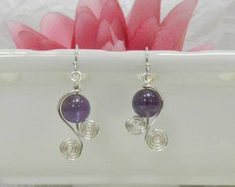 Wire wrapped earrings,Wire wrapped gemstones,AMETHYST earrings,Gemstone healing,Wire wrapped Amethyst,Leverback,Clip on