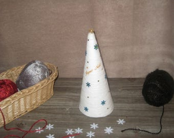 Wool glued - 24 cm White Christmas tree