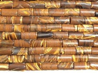 "Golden TigerEye, Puffy Rectangle bead, 8x11 mm, 15.5 "" strand, 1mm hole, one strand"
