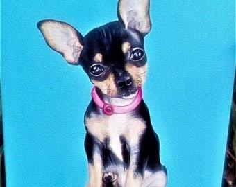 Custom pet portrait. Custom dog oil painting. Pet porttrait. custom dog portrait - oil painting on canvas. Custom animal portrait.