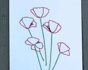 Poppy Hand Stitched Art