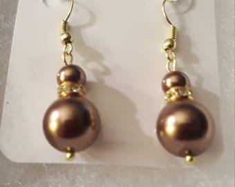 Bronze pearls and crystals