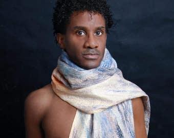 Silk scarf element air, Nuno scarf, felt scarf, silk, wool