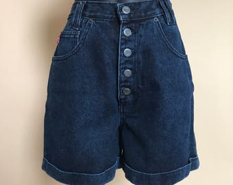 Vintage 90's L high waisted button up pin up style denim shorts