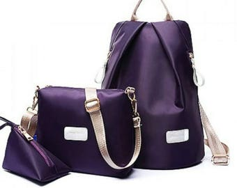 Beautiful Dark Pearl Purple Design Satchel Set