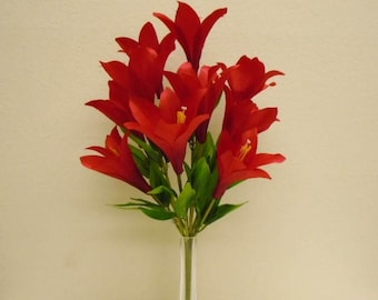 """RED Easter Lily Bush 10 Artificial Silk Flowers 21"""" Bouquet 3022RD"""